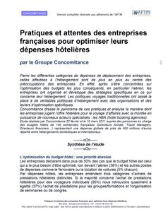 Etude Pratiques et attentes des entreprises françaises pour optimiser leurs dépenses hôtelières