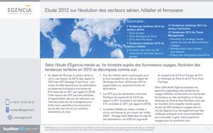 Egencia : Etude 2012 sur l'évolution des secteurs aérien, hôtelier et ferroviaire
