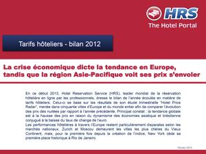 HRS : Etude Hotels Price Radar - Bilan 2012