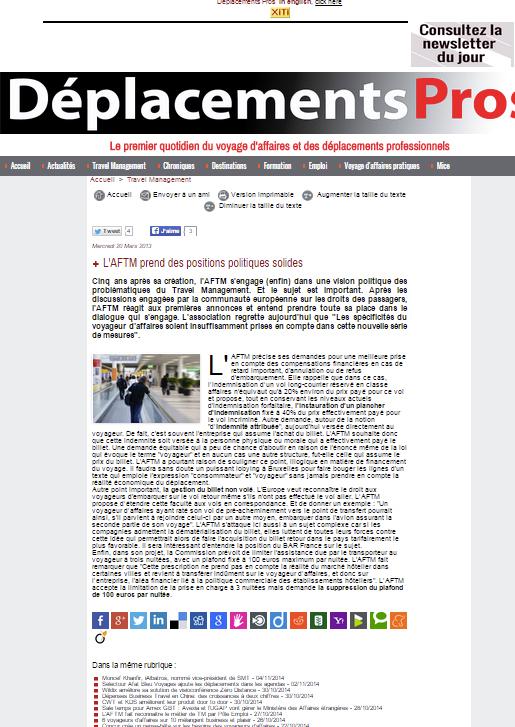 Deplacementspros - Le 20/03/2013 - L'AFTM prend des positions politiques solides