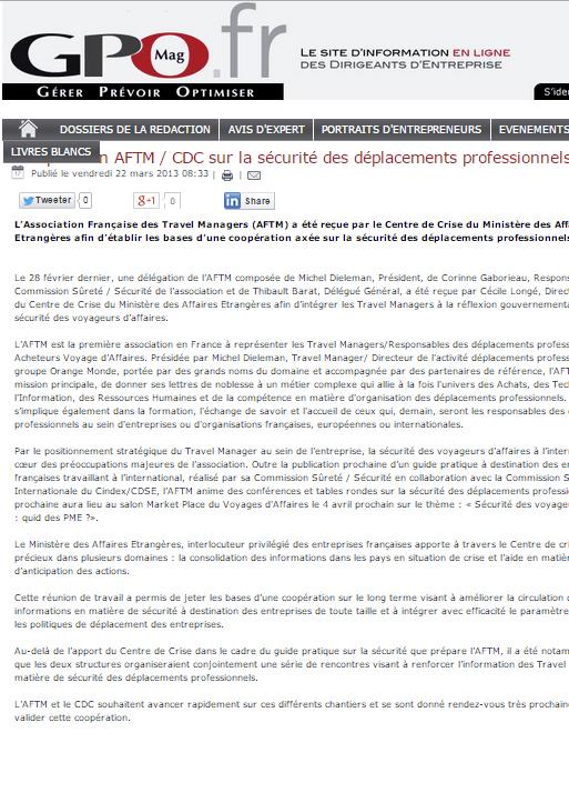 GPO Mag - Le 22/03/2013 - Coopération AFTM/CDC sur la sécurité des déplacements professionnels