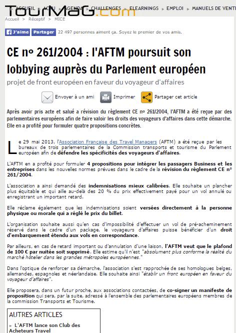 Tourmag - LE 04/06/2013 - L'AFTM poursuit son lobbying auprès du Parlement européen