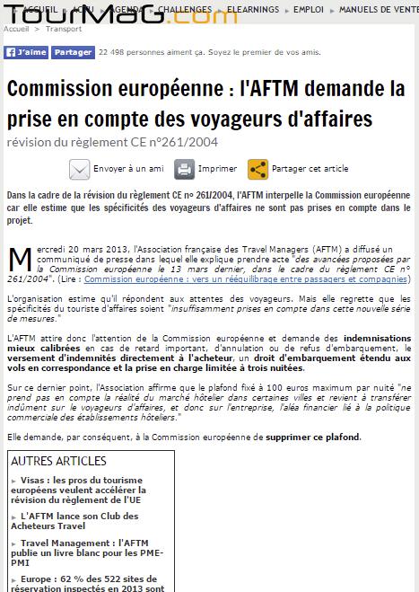Tourmag - Le 21/03/2013 - Commission européenne : l'AFTM demande la prise en compte des voyageurs d'affaires