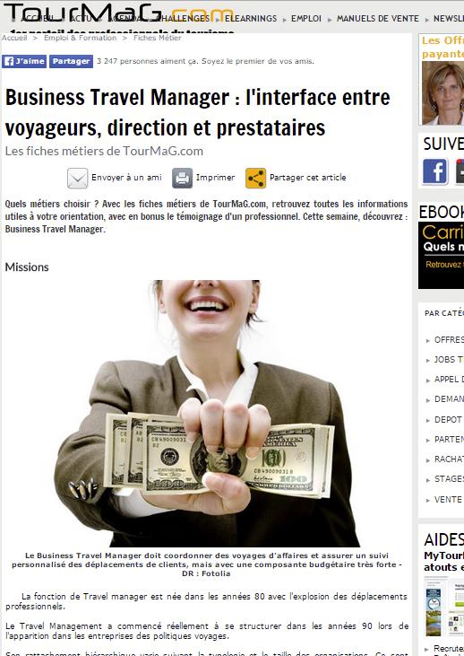 Tourmag - Le 11/03/2013 - Business Travel Manager : l'interface entre voyageurs, direction et prestataires