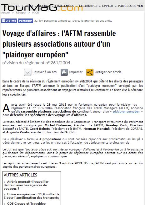 """TourMag - le 02/09/2013 - Voyage d'affaires : l'AFTM rassemble plusieurs associations autour d'un """"plaidoyer européen"""""""