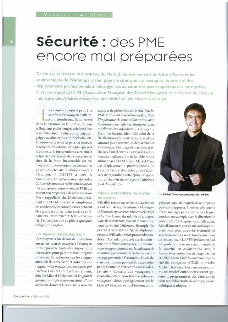 Conquérir - Avril 2013 - Sécurité, des PME encore mal préparées