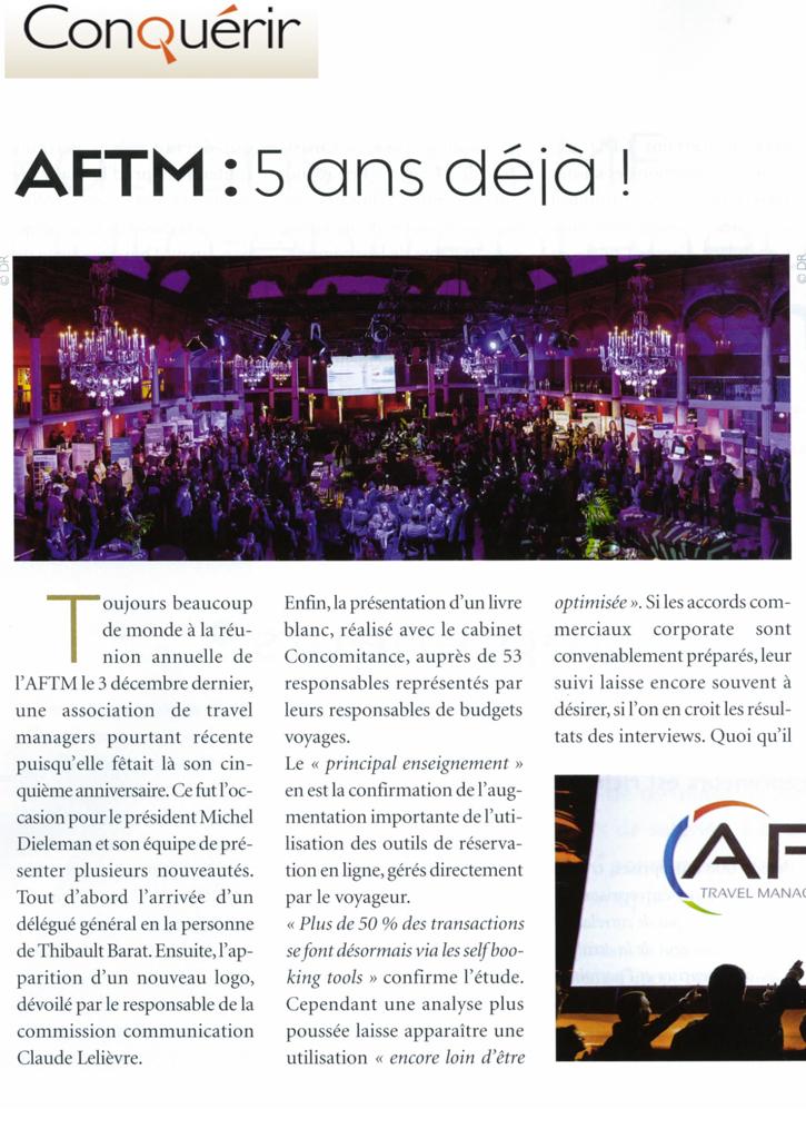 Conquérir - Février 2013 -  AFTM, 5 ans déjà