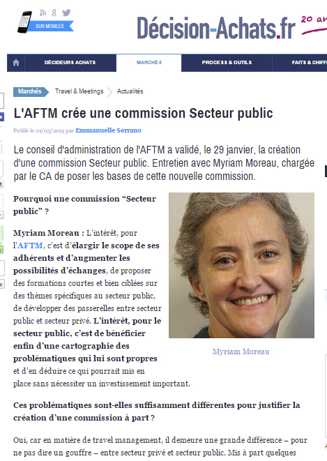 Décision Achats -Le 01/03/2013 - L'AFTM crée une commission Secteur public