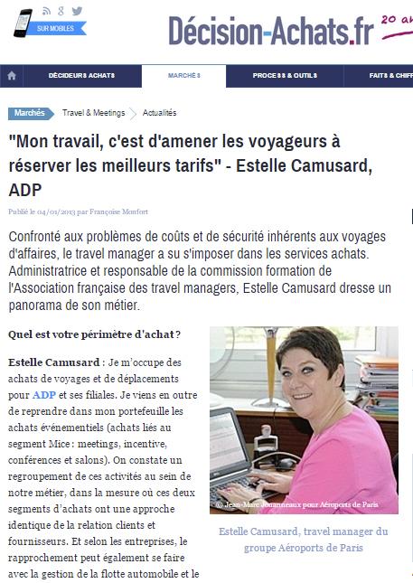 """Décision Achats -Le 04/01/2013 - """"Mon travail, c'est d'amener les voyageurs à réserver les meilleurs tarifs"""" - Estelle Camusard, ADP"""