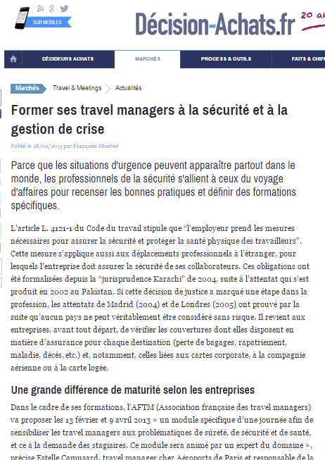 Décision Achats - Le 28/01/2013 - Former ses travel managers à la sécurité et à la gestion de crise
