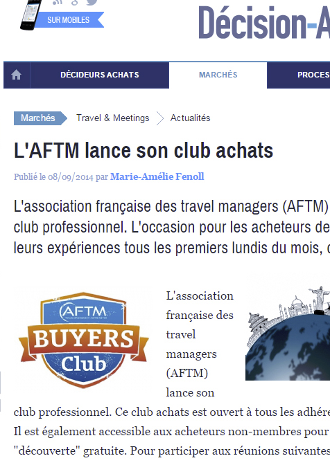 """Décision-Achats.fr publié le 08/09/2014 - """"L'AFTM lance son club achats"""""""