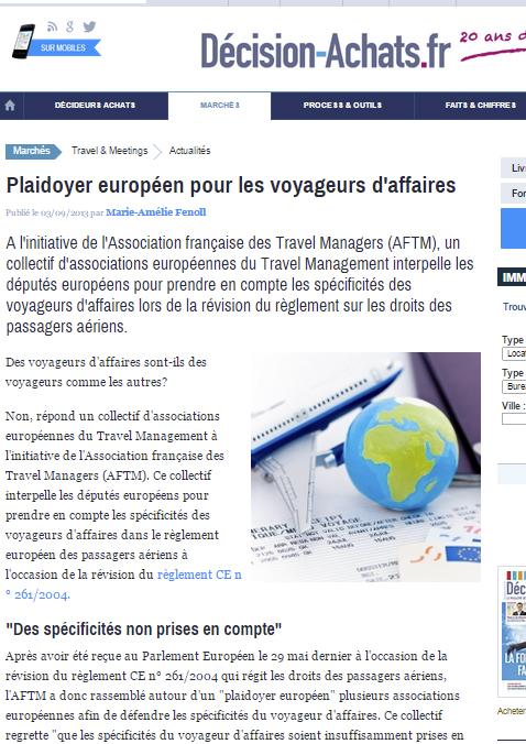Décision achats - le 03/09/2013 - Plaidoyer européen pour les voyageurs d'affaires