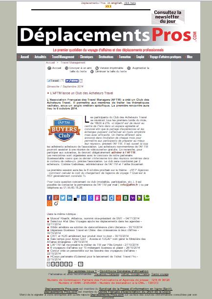 Déplacements Pros.com - Le 07/09/2014  - L'AFTM lance un Club des Acheteurs Travel