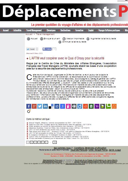 Deplacements Pros - Le 07/03/2013 - L'AFTM veut coopérer avec le Quai d'Orsay pour la sécurité