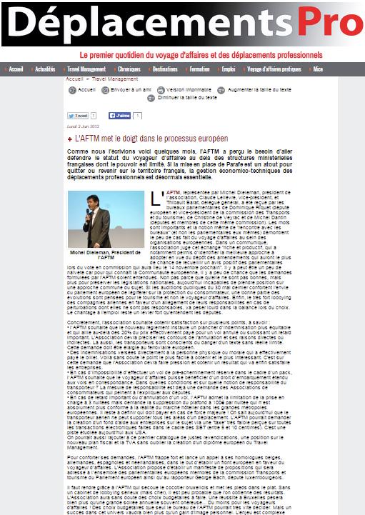 Deplacementspros.com - Le 03/06/2013 - L'AFTM met le doigt dans le processus européen