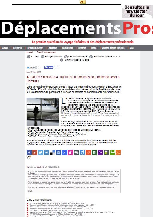 Déplacements Pros.com -le 03/03/2014 - L'AFTM s'associe à 4 structures européennes pour tenter de peser à Bruxelles