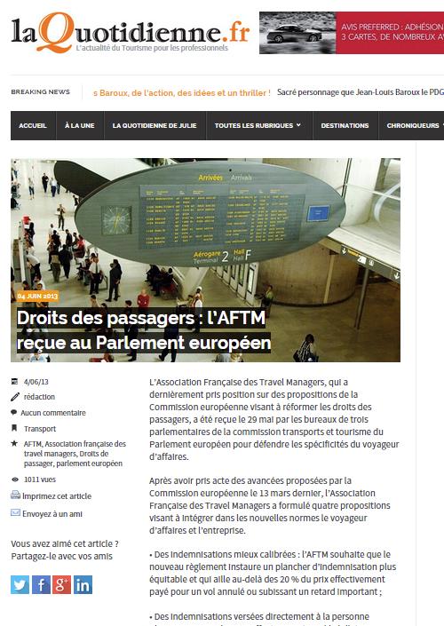 La Quotidienne - Le 04/06/2013 - Droits des passagers : l'AFTM reçue au parlement européen