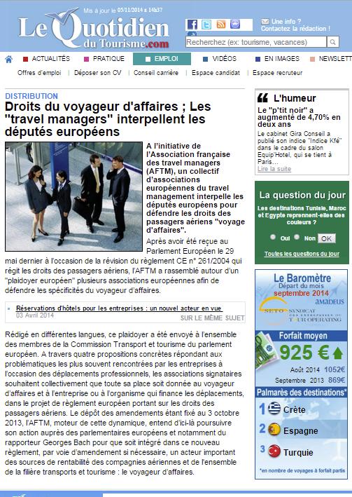 """Le Quotidien du Tourisme - le 02/09/2013 - Droits du voyageur d'affaires : Les """"travel managers"""" interpellent les députés européens"""