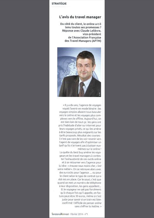 TendanceNomad - Février 2014 N°1 - L'avis de Claude Lelièvre, Travel Manager, sur les agences de voyages