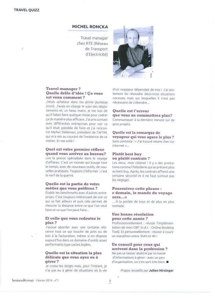 TendanceNomad - février 2014 N°1 - Interview de Michel Roncka