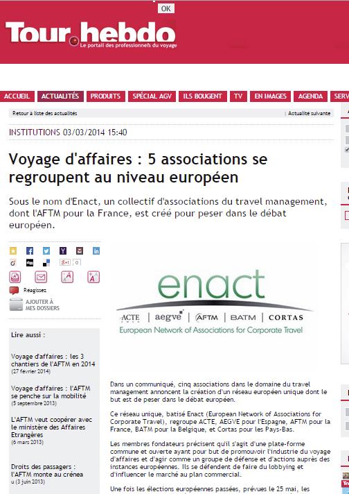 Tour Hedbo - Le 03/03/2014 - Voyage d'affaires : 5 associations se regroupent au niveau européen