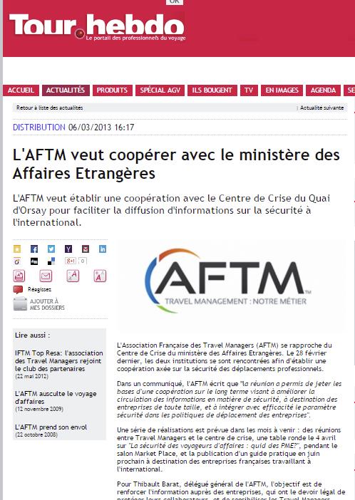 Tour Hebdo - Le 06/03/2013 - L'AFTM veut coopérer avec le ministère des affaires étrangères