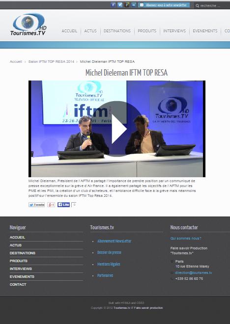 Michel Dieleman Interviewé sur Tourismes TV