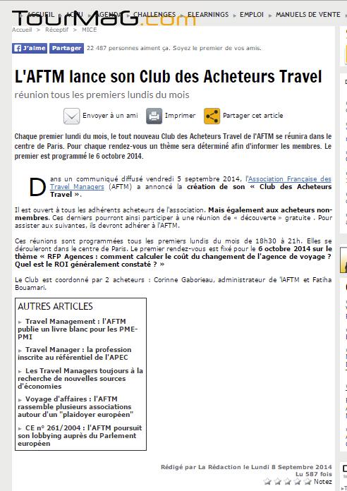 TourMag publié- Le 08/09/2014  - L'AFTM lance son Club des Acheteurs Travel