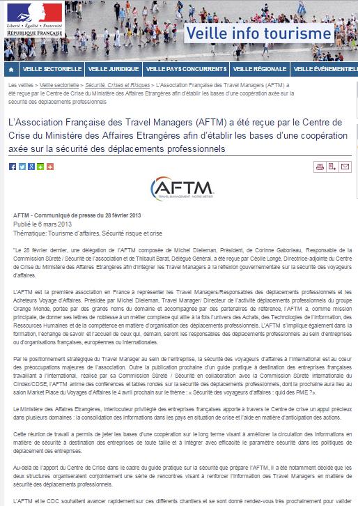Veille Info Tourisme - Le 06/03/2013 - L'Association Française du Travel Management (AFTM) a été reçue par le Centre de Crise du Ministère des Affaires Etrangères