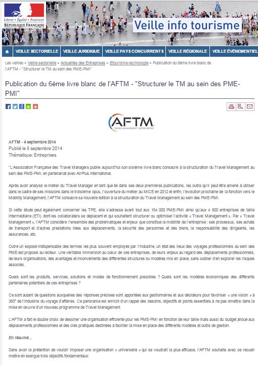 """Veille Info Tourisme - Le 08/09/2014 - """"Publication du 6ème livre blanc de l'AFTM"""" - """"Structurer le TM au sein des PME-PMI"""""""