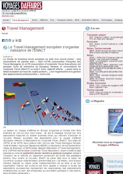 Voyages d'affaires - Le 03/03/2014 - Le Travel Management européen s'organise : naissance de l'ENACT