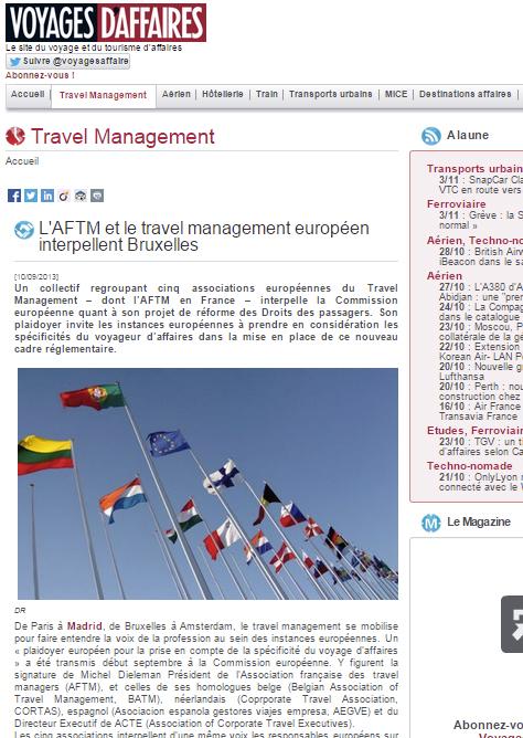 Voyages d'Affaires - le 10/09/13 - L'AFTM et le travel management européen interpellent Bruxelles
